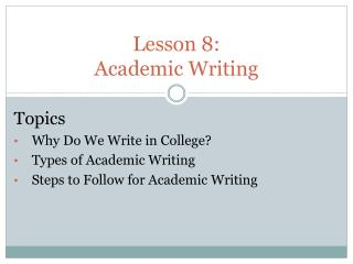 Lesson  8:  Academic Writing