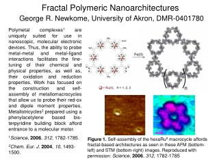 Fractal Polymeric Nanoarchitectures  George R. Newkome, University of Akron, DMR-0401780