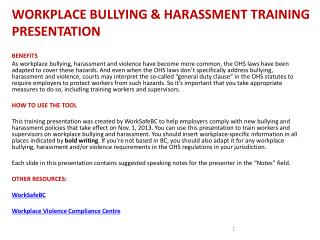 WORKPLACE BULLYING & HARASSMENT TRAINING PRESENTATION