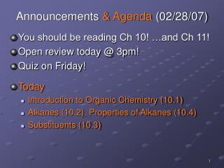 Announcements & Agenda (02/28/07)