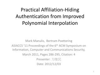 Practical Affiliation-Hiding Authentication from Improved Polynomial Interpolation