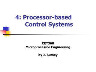 4: Processor -based  	Control Systems