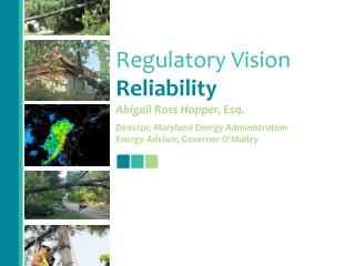 Regulatory Vision Reliability Abigail Ross Hopper, Esq. Director, Maryland Energy Administration