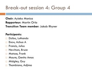 Break-out session 4: Group 4