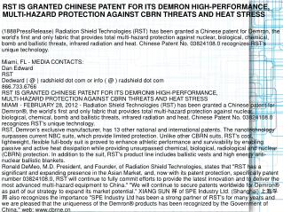 RST IS GRANTED CHINESE PATENT FOR ITS DEMRON HIGH-PERFORMANC
