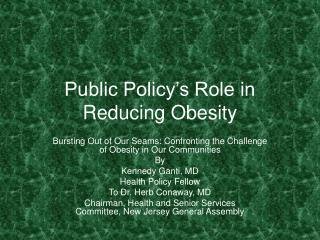 Public Policy's Role in Reducing Obesity