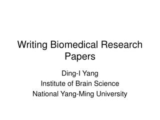 Writing Biomedical Research Papers
