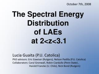 The Spectral Energy  Distribution  of  LAEs at 2< z <3.1