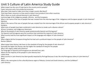 Unit 5 Culture of Latin America Study Guide