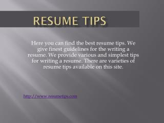 Resume Tips| Resume Tip