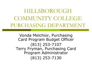 HILLSBOROUGH COMMUNITY COLLEGE PURCHASING DEPARTMENT
