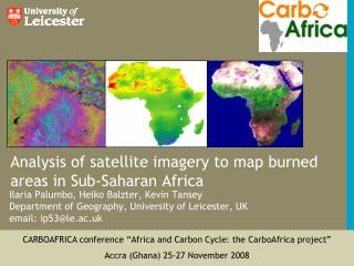 Analysis of satellite imagery to map burned areas in Sub-Saharan Africa