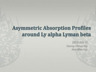Asymmetric Absorption Profiles around Ly alpha Lyman beta