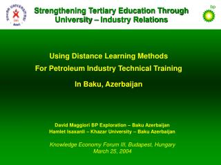 Using Distance Learning Methods For Petroleum Industry Technical Training In Baku, Azerbaijan