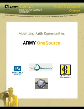 Mobilizing Faith Communities ARMY  OneSource