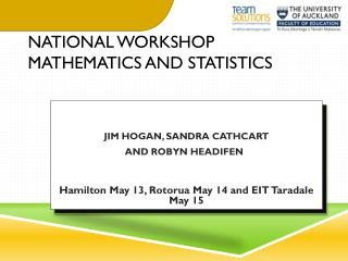 national Workshop Mathematics and Statistics