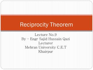 Reciprocity  Theorem