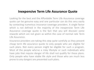 Inexpensive Term Life Assurance Quote