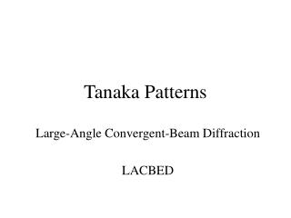 Tanaka Patterns