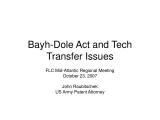 Bayh-Dole Act and Tech Transfer Issues