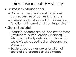 Dimensions of IPE study: