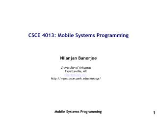 CSCE 4013: Mobile Systems Programming