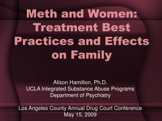 Meth and Women: Treatment Best Practices and Effects on Family