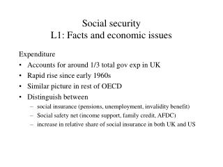 Social security  L1: Facts and economic issues