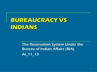 BUREAUCRACY VS INDIANS