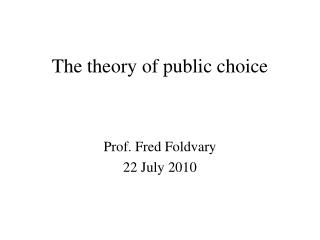 The theory of public choice