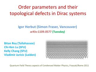 O rder parameters and their topological defects in Dirac systems