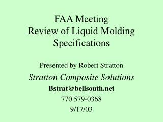FAA Meeting Review of Liquid Molding Specifications