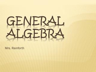 General Algebra