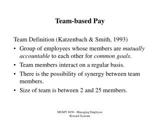 Team-based Pay