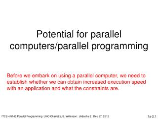 Potential for parallel computers/parallel programming