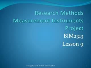 Research Methods Measurement Instruments Project