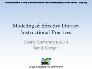 Modeling of Effective Literacy Instructional Practices