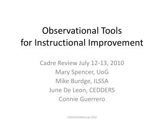 Observational Tools for Instructional Improvement