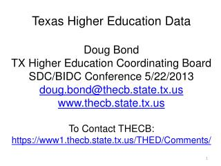 Texas Higher Education Plan Closing the Gaps by 2015