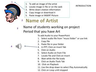 Name of students working on project Period that you have Art