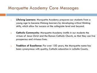 Marquette Academy Core Messages