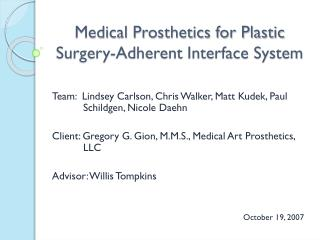 Medical Prosthetics for Plastic Surgery-Adherent Interface System