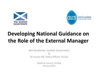 Developing National Guidance on the Role of the External Manager