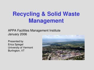 Recycling & Solid Waste Management