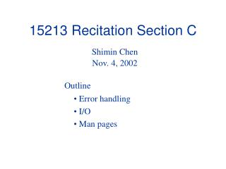 15213 Recitation Section C