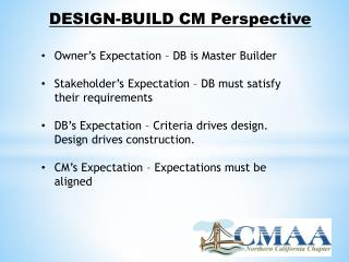 DESIGN-BUILD CM Perspective