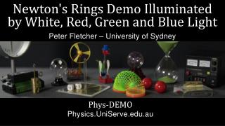Newton's Rings Demo Illuminated  by White, Red, Green and Blue Light