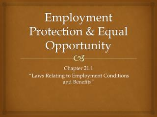 Employment Protection & Equal Opportunity