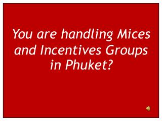 You are handling Mices and Incentives Groups in Phuket?