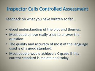 Inspector Calls Controlled Assessment